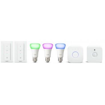 Pack Philips E27 blanc & couleurs 1 Détecteur et 2 interrupteurs